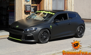 VW Scirocco R in Black Matte Wrap