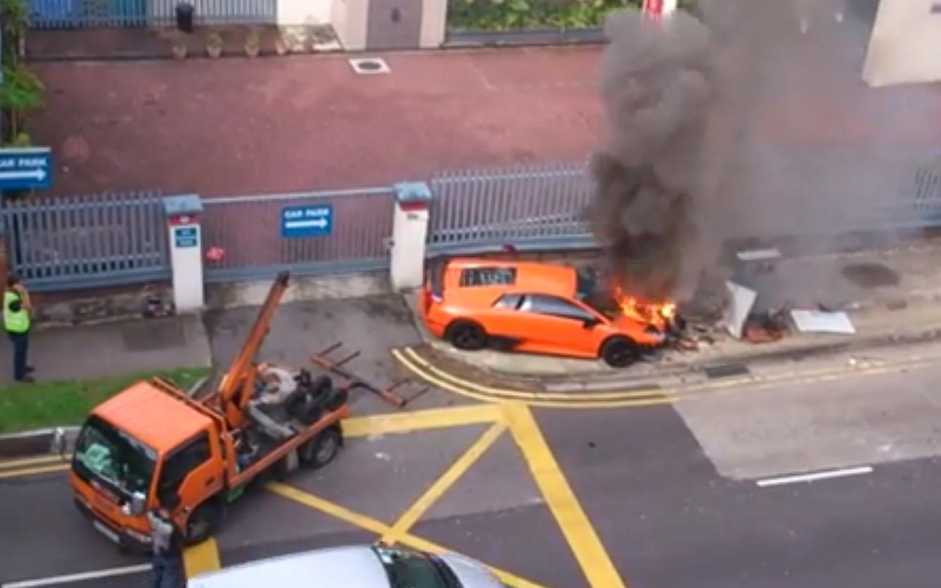 Watch A Lamborghini Murcielago Slowly Catch Fire