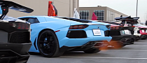 Watch Five Lamborghini Aventadors Shoot Flames: Pentaventador [Video]