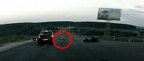 Weird Bike Crash with a Semi-Naked Rider [Video]