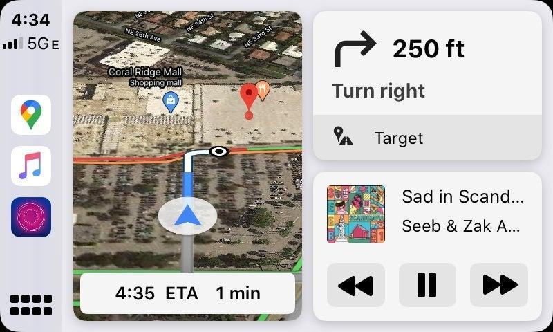 Google Maps en el panel de CarPlay