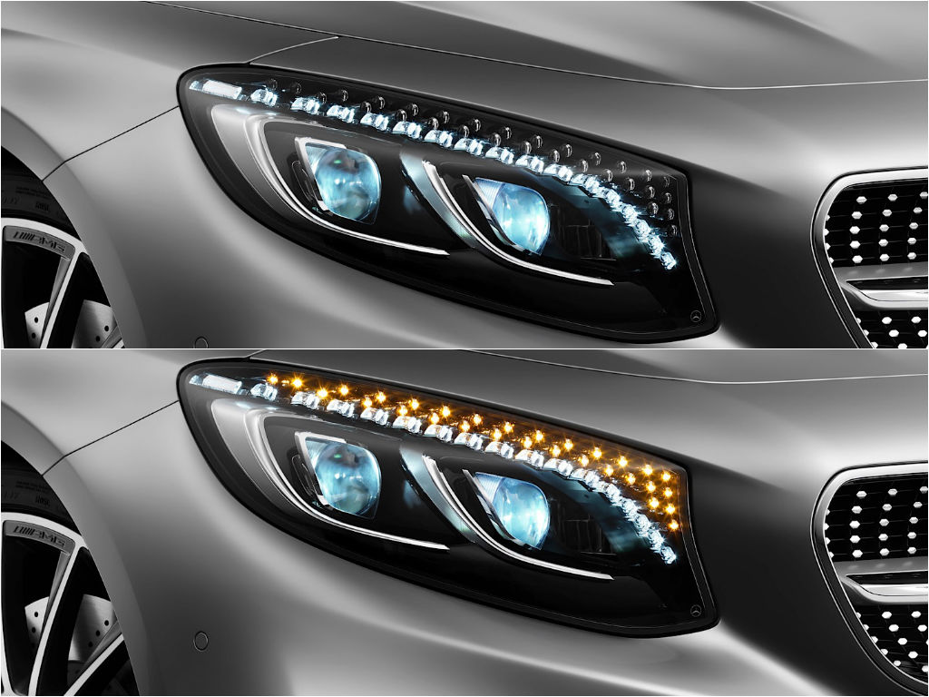 While bmw is launching laser lights mercedes puts for Mercedes benz lighting