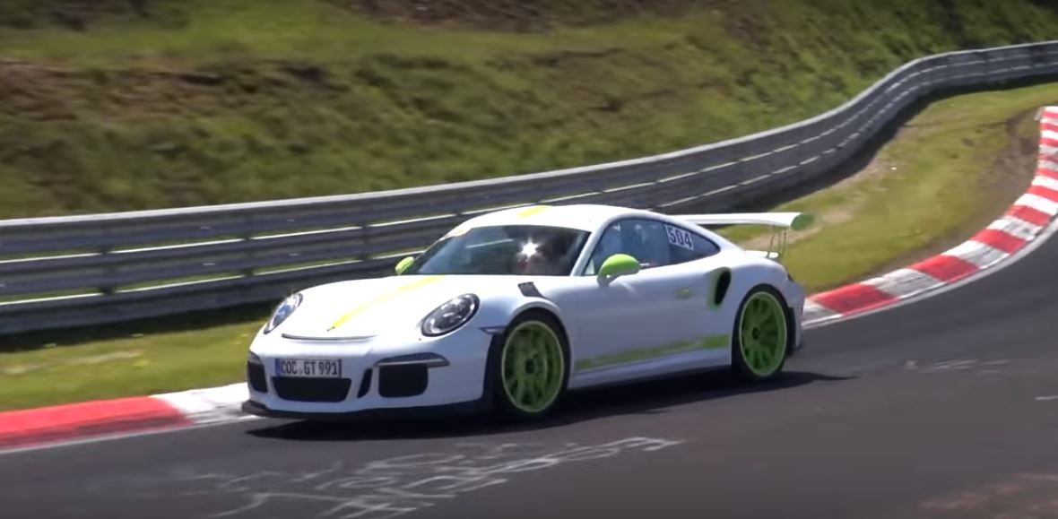 White Porsche 911 Gt3 Rs With Lime Green Details Goes Berserk On Nurburgring Autoevolution