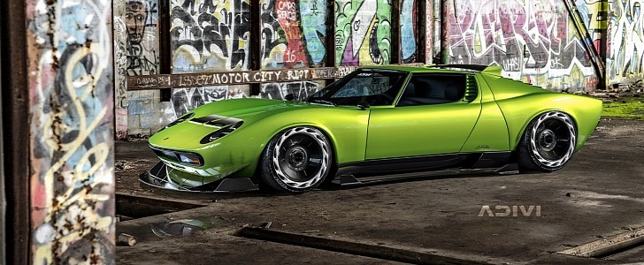 Widebody Lamborghini Miura Rendered With Roof Spoiler, Rides So Low - autoevolution
