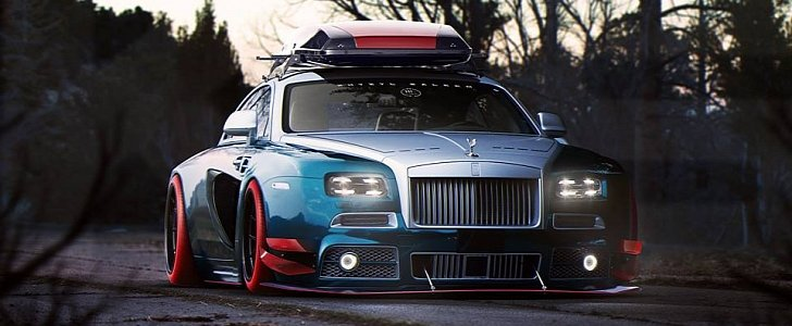 Widebody Rolls Royce Wraith With Roof Box Rendered As