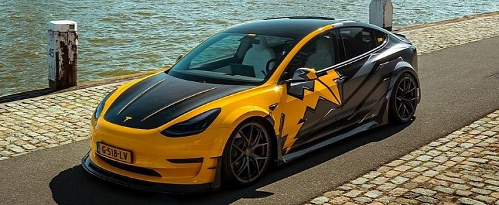 "Widebody Tesla Model 3 ""Yellow Flash"" Has Carbon Hood and Trunk ..."