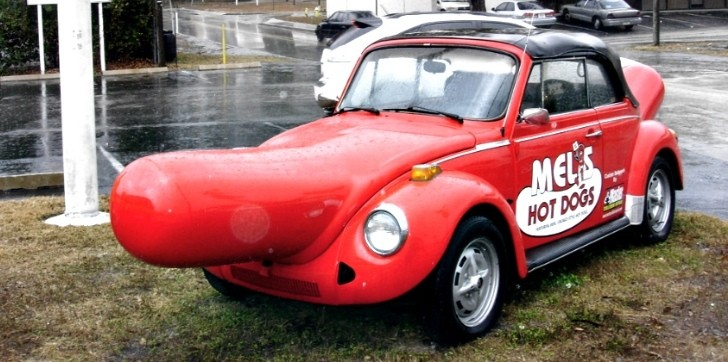 Wiener-Lovin VW Beetle Advertises Hot Dog Restaurant