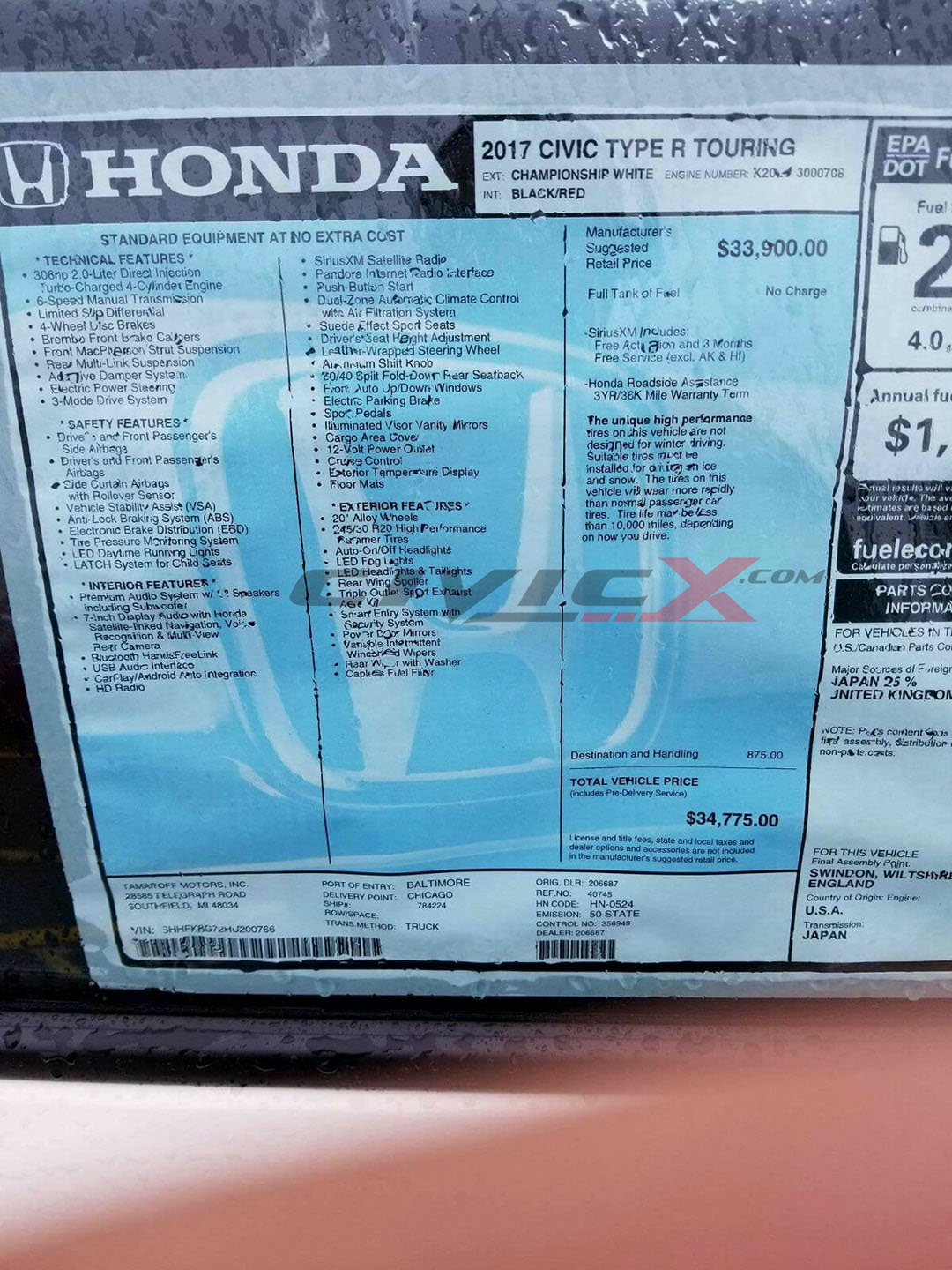 Window Sticker Suggests 2017 Honda Civic Type R Is Priced ...
