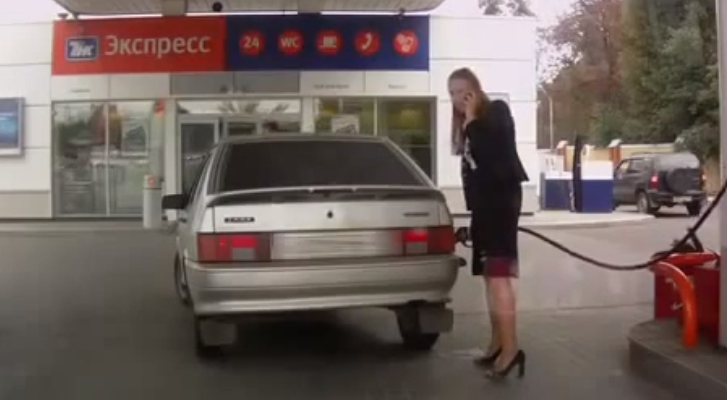 Woman Almost Destroys Gas Pump, Acts Like It Didn't Happen [Video]