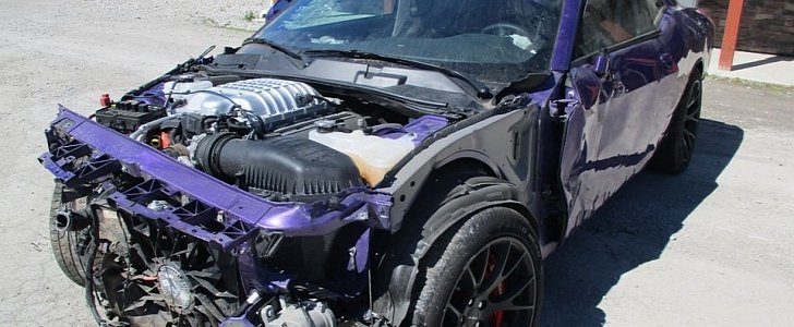 Wrecked Plum Crazy Dodge Challenger Hellcat Organ Donor