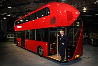 London's new double-decker and London's Mayor, Boris Johnson