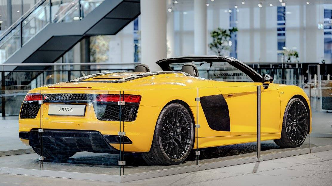 Yellow And Carbon Audi R8 Spyder Arrives At Audi Forum
