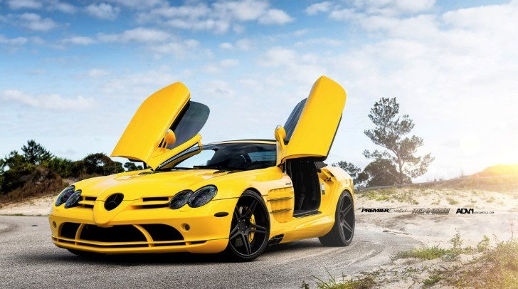 Yellow Mercedes SLR Convertible by Renntech on ADV.1 Wheels [Photo Gallery]