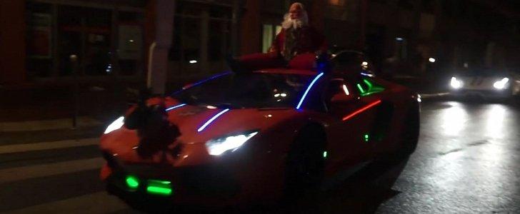 Youtuber Dresses Up His Lamborghini Aventador As Fire Spitting Santa Sleigh Autoevolution