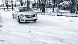 DACIA Logan driving on snow