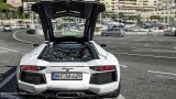 Lamborghini Aventador with engine cover open