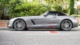 Mercedes-Benz SLS AMG Roadster profile with soft-top up